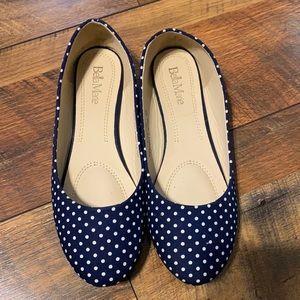 Bella Marie navy w/ white polka dot flats sz 8.5